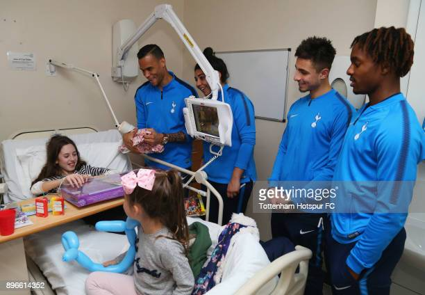 Michel Vorm Renee Hector Anthony Georgiou and Kazaiah Sterling meet a young patient during a Tottenham Hotspur player visit at Princess Alexandra...