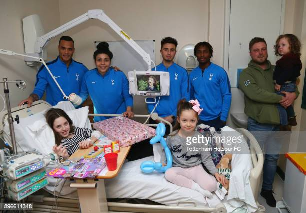 Michel Vorm Renee Hector Anthony Georgiou and Kazaiah Sterling meet young patients during a Tottenham Hotspur player visit at Princess Alexandra...