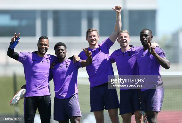 Michel Vorm Serge Aurier Jan Vertonghen Toby Alderweireld and Moussa Sissoko of Tottenham Hotspur during the Tottenham Hotspur training session at...