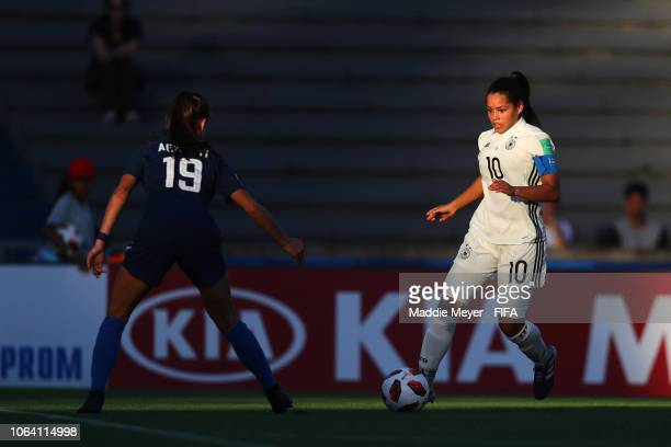 Michela Agresti of the United States defends Ivana Fuso of Germany during the FIFA U-17 Women's World Cup Uruguay 2018 group C match between Germany...