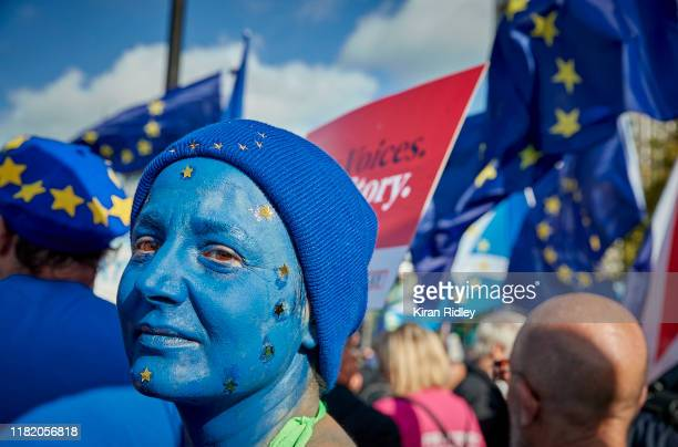Michela Beltracchi an Italian who has lived in the UK for over 10 years protests as part of the People's Vote Rally on October 19 2019 in London...