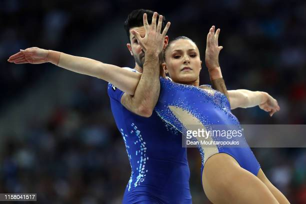 Michela Castoldi and Davide Donati competes during the Aerobic Gymnastics — Mixed Pairs Final during Day 4 of the 2nd European Games at the Minsk...