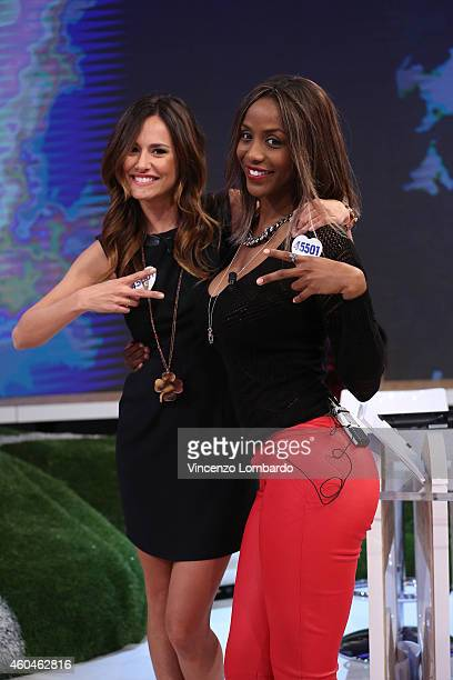 Michela Coppa and Ainett Stephens attend the 'Quelli Che Il Calcio' Tv Show on December 14 2014 in Milan Italy