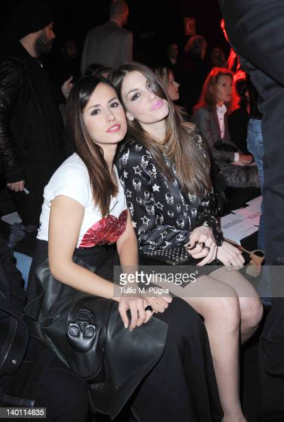 Michela Coppa and Francesca Fioretti attend the Philipp Plein fashion show as part of Milan Womenswear Fashion Week on February 25, 2012 in Milan,...
