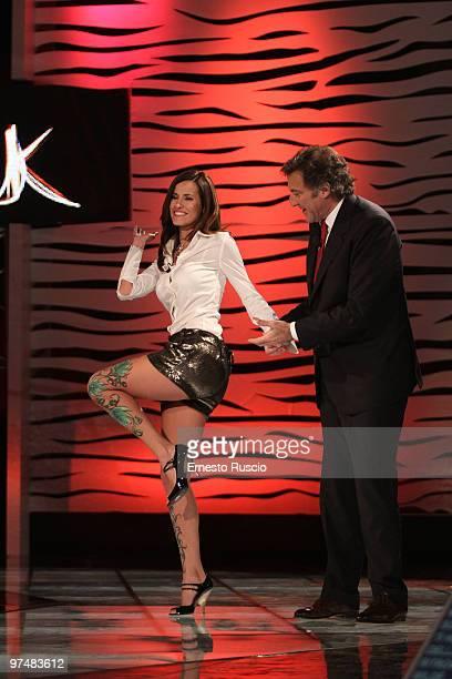 Michela Coppa and Luca Barbareschi attend the 'Barbareschi Sciok' Italian TV Show at La7 Studios on March 5 2010 in Rome Italy