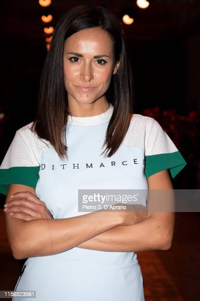 Michela Coppa arrives at the Edithmarcel fashion show during the Milan Men's Fashion Week Spring/Summer 2020 on June 17, 2019 in Milan, Italy.