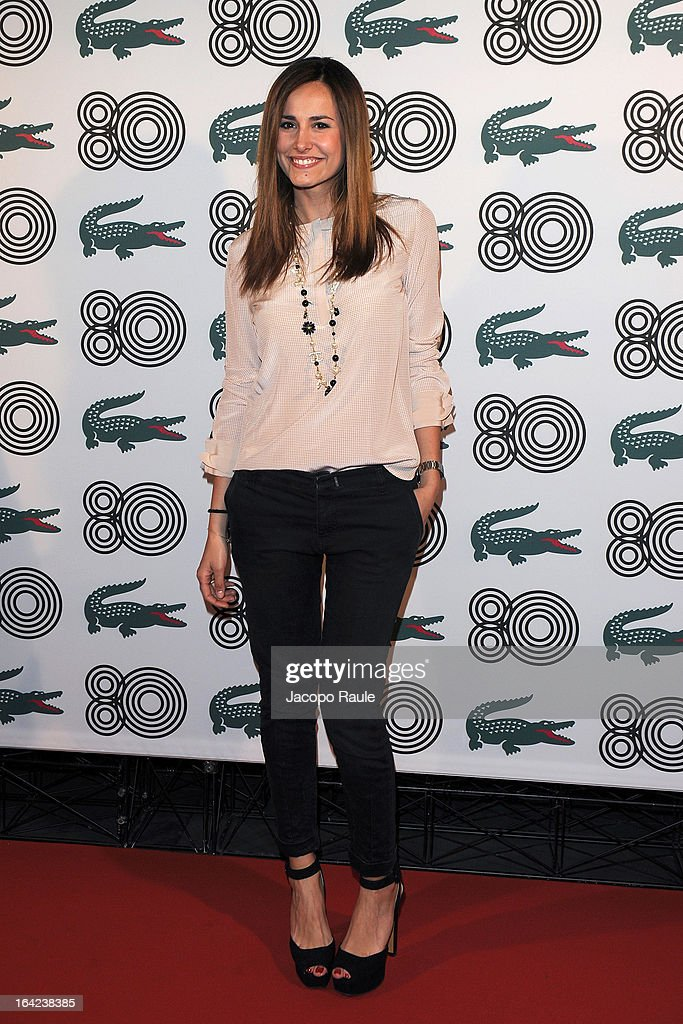 Michela Coppa attends Lacoste 80th Anniversary cocktail party at La Rinascente on March 21, 2013 in Milan, Italy.