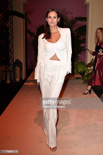Michela Coppa attends the Luisa Spagnoli fashion show during the Milan Fashion Week Spring/Summer 2020 on September 20, 2019 in Milan, Italy.
