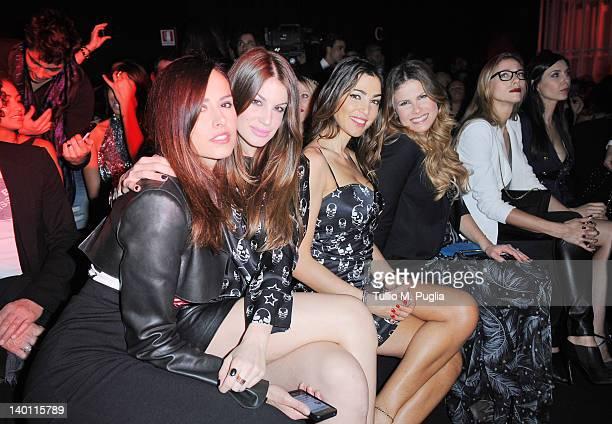 Michela Coppa, Francesca Ferretti, Cecilia Capriotti, Natalie Kriz, Nora Mogalle and Tania Zamparo attend the Philipp Plein fashion show as part of...