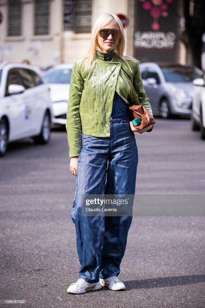 Michela D Angelo Wearing A Green Velvet Jacket Blue Pants And Tan News Photo Getty Images
