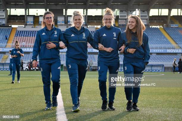 Michela Franco , Federico Russo , Aurora Galli and Lisa Boattin of Juventus are seen ahead of the women serie A final match between Juventus Women...