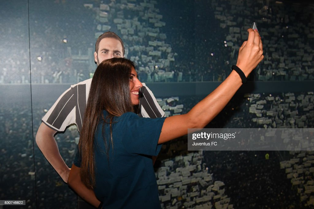 Michela Franco of Juventus Women takes a selfie during a visit to the Club's Museum on August 12, 2017 in Turin, Italy.