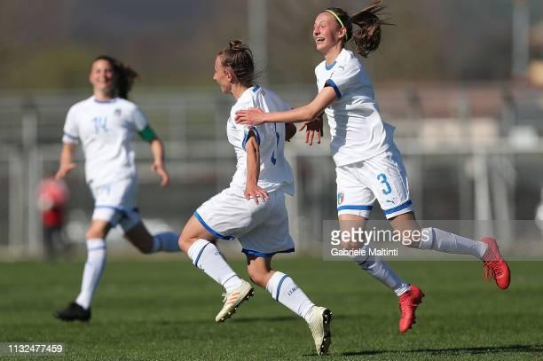 Michela Giordano of Italy U17 Women celebrates after scoring a goal during the UEFA Elite Round match between Italy Women U17 and Slovenia Women U17...