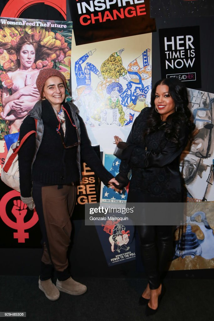 Michela Martello and Mashonda Tifrere during the ArtLeadHER Presents 'Her Time Is Now' at Urban Zen on March 8, 2018 in New York City.