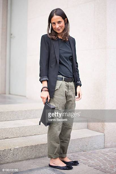 Michela Meni poses wearing Citizen of Humanity pants after the Emilio Pucci show during Milan Fashion Week Spring/Summer 2017 on September 22 2016 in...