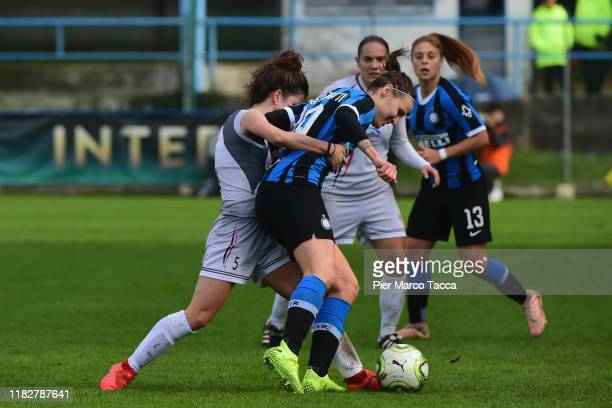 Michela Milesi of Orobiche Women competes for the ball with Lisa Alborghetti of FC Internazionale Women during the Women Serie A match between FC...