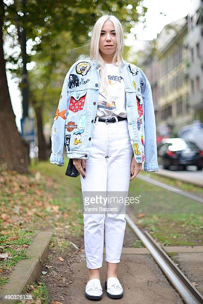 Michela Milesi poses wearing a Thrasher tshirt before the Dolce and Gabbana show during the Milan Fashion Week Spring/Summer 16 on September 27 2015...