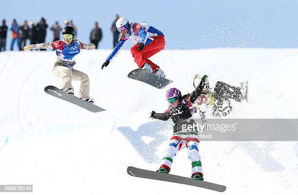 Michela Moioli of Italy with Alexandra Jekova of Bulgaria falling behind Faye Gulini of USA and Chloe Trespeuch of France come off the second last...