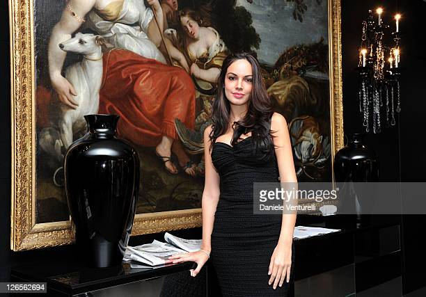 Michela Quattrociocche poses in the VIP room at the Dolce Gabbana Spring/Summer 2012 fashion show as part Milan Womenswear Fashion Week on September...