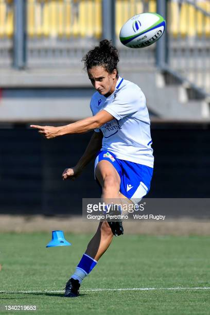 Michela Sillari of Italy kicks the ball during the Scotland v Italy Rugby World Cup 2021 Europe Qualifying match at Stadio Sergio Lanfranchi on...
