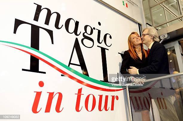 Michela Vittoria Brambilla and Vittorio Sgarbi attend the 2011 BIT International Tourism Exchange held at Fieramilano on February 17, 2011 in Milan,...