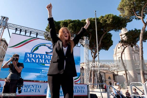 Michela Vittoria Brambilla joins members of the national animal rights movement demonstrate on July 8 2017 in Rome Italy The movement seeks to end...