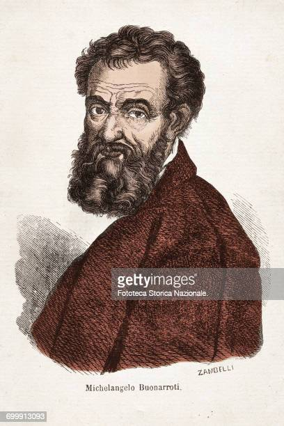 Michelangelo Buonarroti portrait in color from an illustration by Zambelli for 'Universal Atlas of geography illustrated colorful statistics and from...