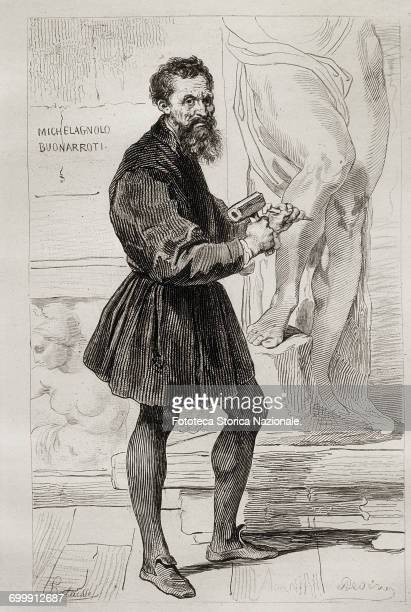 Michelangelo Buonarroti portrait while working on one of his sculptural works Engraving Italy Rome approx 1850