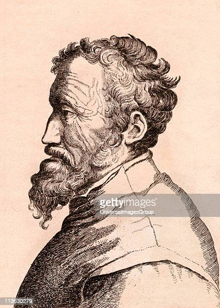 Michelangelo di Lodovico Buonarroti Simoni 1475 n 1564 Italian artist From 75 Portraits Of Celebrated Painters From Authentic Originals etched by...