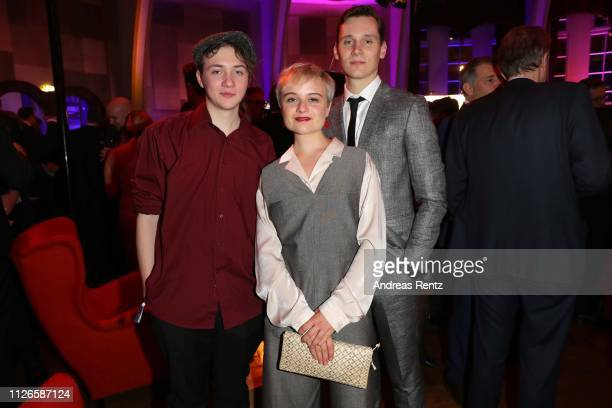 Michelangelo Fortuzzi, Lena Urzendowsky and Rick Okon attend the German Television Award after show reception at Rheinterrasse on January 31, 2019 in...