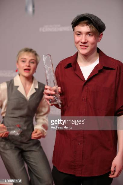 Michelangelo Fortuzzi pose his awards as best newcomer during the German Television Award at Rheinterrasse on January 31, 2019 in Duesseldorf,...