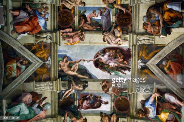 Michelangelo Italian artist Ceiling of Sistine Chapel Detail with The Creation of Adam Fresco C1512 Vatican Museums Vatican City
