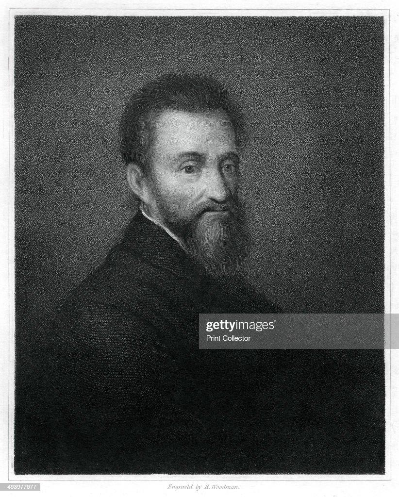 Michelangelo, Italian Renaissance sculptor, painter, architect and poet, (1833).Artist: R Woodman : News Photo