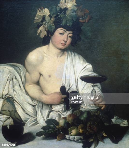 Michelangelo Merisi de Caravaggio Bacchus c1597 Oil on canvas Uffizi Florence Ancient Roman god of wine seated as at a banquet with wreath of vine...