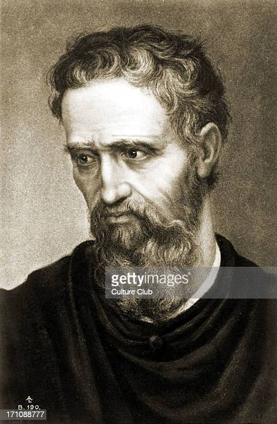 Michelangelo Selfportrait Line drawing Renaissance Italian sculptor painter architect and poet 6 March 1475 Caprese Republic of Florence Italy 18...