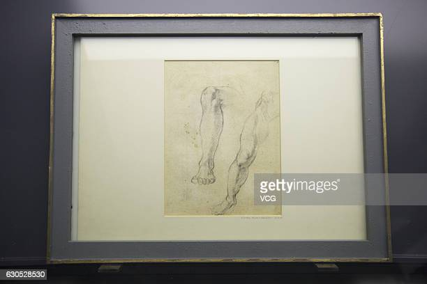 """Michelangelo's manuscript for the exhibition """"The Divine Michelangelo"""" seen at Shanghai Modern Art Museum on December 25, 2016 in Shanghai, China...."""