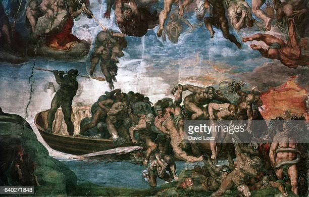 Michelangelo's violent fresco painting of The Last Judgement depicting the arrival of Charon's boat of damned souls in Hades Commissioned by Pope...