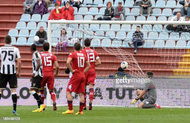 Michele Agazzi goalkeeper of Cagliari lets a goal in from Antonio Di Natale of Udinese Calcio during the Serie A match between Udinese Calcio and...