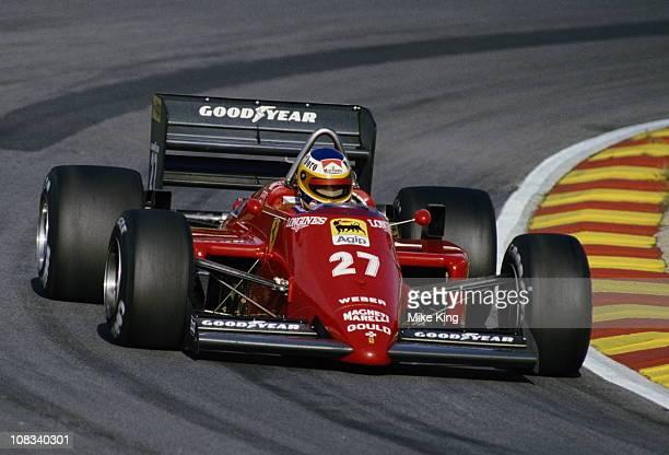 Michele Alboreto drives the Scuderia Ferrari SpA Ferrari 156/85 during the Shell Oils Grand Prix of Europe on 6th October 1985 at the Brands Hatch...