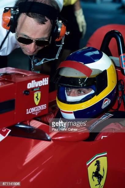 Michele Alboreto Marco Piccinini Ferrari F1/87/88C Grand Prix of Germany Hockenheimring 24 July 1988 Michele Alboreto with Ferrari team manager Marco...