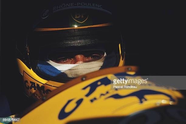 Michele Alboreto of Italy driver of the Equipe Larrousse Lola LC89 Lamborghini V12 during practice for the Portuguese Grand Prix on 22 September 1989...