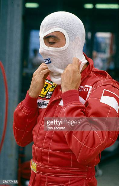 Michele Alboreto of Italy, driver of the Scuderia Ferrari SpA SEFAC Ferrari F1/87 Ferrari 033D 1.5 V6t pictured during the 1987 British Grand Prix at...