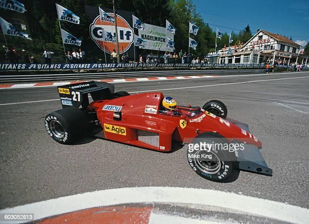 Michele Alboreto of Italy drives the Scuderia Ferrari Ferrari F1/86 Ferrari V6 during the Belgian Grand Prix on 25 May 1986 at the Spa-Francorchamps...