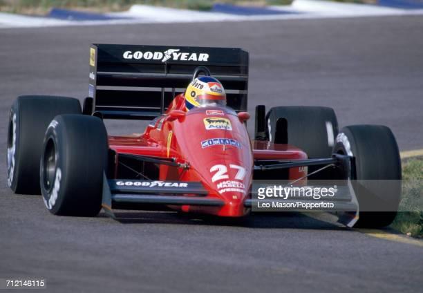 Michele Alboreto of Italy enroute to a fifteenth place finish driving a Ferrari F1/87 with a Ferrari 033E 15 V6t engine for Team Scuderia Ferrari SpA...