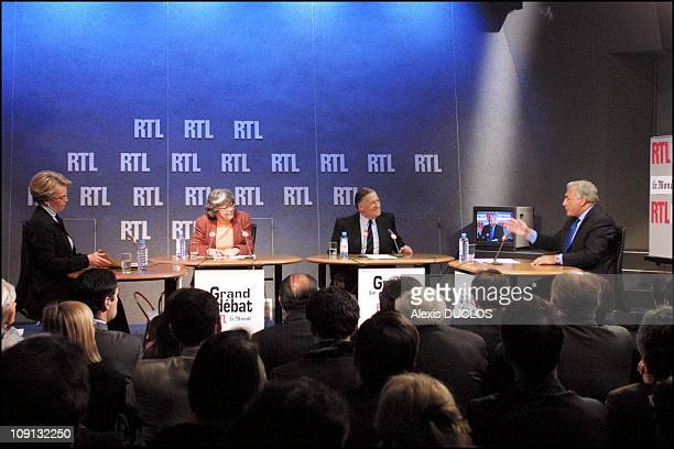 Michele Alliot Marie And Dominique Strauss Kahn Guests Of 'Le Grand Debat RtlLe Monde' Political Radio Show On July 1St 2001 In Paris France From...