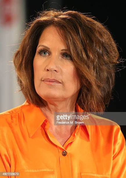 Michele Bachmann speaks during Politicon at the Los Angeles Convention Center on October 10, 2015 in Los Angeles, California.