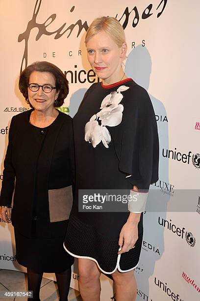 Michele Barzach from UNICEF and Anna SherbininaÊattend the 'Frimousses De Createurs 2014 Press Preview Of Dolls To Be Sold At A UNICEF Auction at...