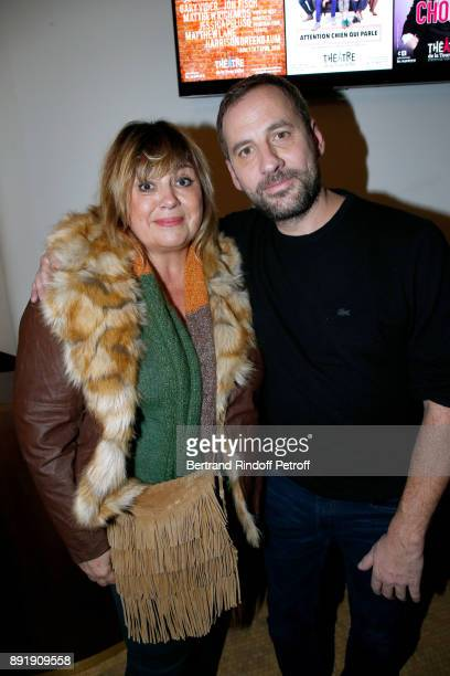 Michele Bernier and Fred Testot pose after Fred Testot performed in his One Man Show 'Presque Seul' at Theatre de la Tour Eiffel on December 13 2017...