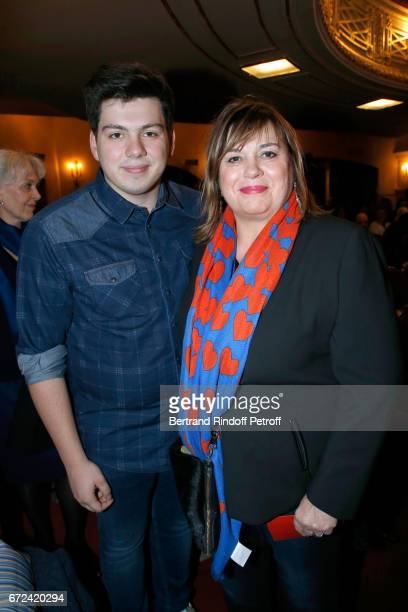 Michele Bernier and her son Enzo Gaccio attend La Recompense Theater Play at Theatre Edouard VII on April 24 2017 in Paris France