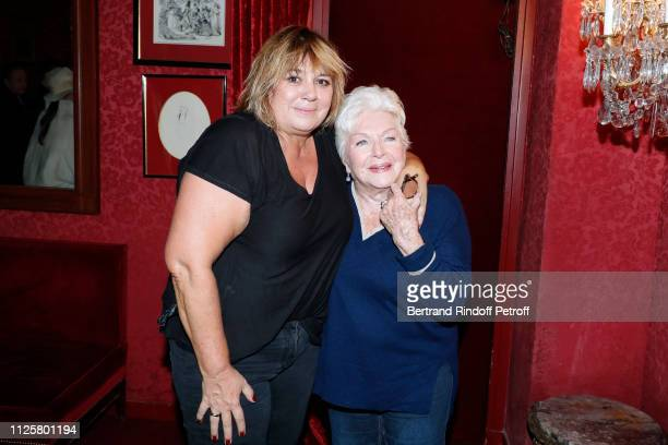 Michele Bernier and Line Renaud pose after the Michele Bernier One Woman Show Vive Demain at Theatre des Varietes on January 28 2019 in Paris France